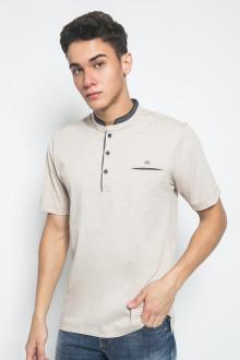 Regular Fit - Kaos Casual - Motif Polos - Cream