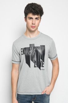 Slim Fit - Kaos Casual Active - Sablon Endless Line - Abu