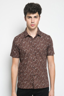 Slim Fit - Kemeja Formal - Motif Bunga - Coklat