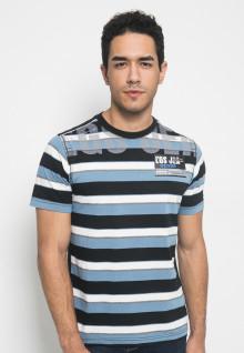 Kaos Jeans motif salur tiga warna -LETS.323.M1525F.01.7C