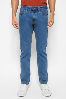 Celana Slim Fit Biru Jeans Washed Pria