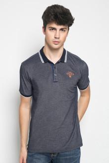 Slim Fit - Kaos Casual - Stripe Collar - Abu