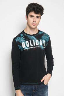 Slim Fit - Kaos Casual Active - Gambar Sablon HOLIDAY - Hitam