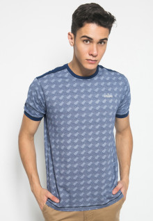 Slim Fit - Kaos Fashion - Motif Anyaman - Biru