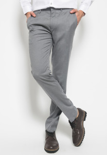 Slim Fit - Celana Formal - double Pockets - Abu Terang