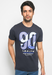 Slim Fit - Kaos Youth Boy - Gambar Sablon BRKLYN - Navy