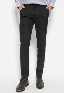 Slim Fit - Celana Formal - Mid Rise - Hitam