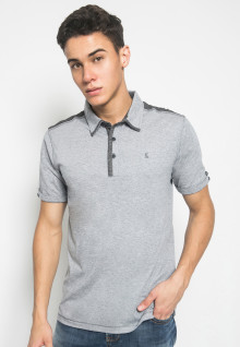 Slim Fit - Kaos Polo Fashion - Aksen Warna Dark Grey - Abu
