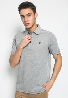 Slim Fit - Kaos Polo Fashion - Corak Titik - Abu