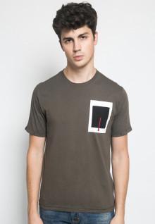 Slim Fit - Kaos Casual Active - Motif Polos Kotak - Coklat