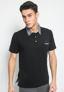 Slim Fit - Kaos Polo Fashion - Kerah Motif Kotak - Hitam
