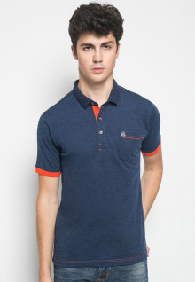 Slim Fit - Kaos Casual - Motif Polos - Navy Garis Merah