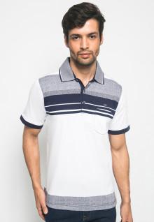 Kaos Kasual Pria Desain Sand Garis - Putih