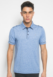Slim Fit - Kaos Polo Fashion - Motif Abstrak - Biru