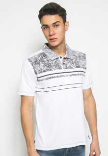 Slim Fit - Kaos Polo Fashion - Motif Abstrak - Stripe - Putih