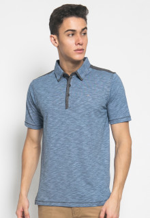 Slim Fit - Kaos Polo Fashion - Motif Gelombang - Biru