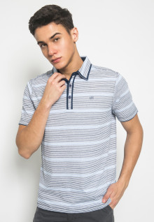 Slim Fit - Kaos Polo Fashion - Motif Stripe - Putih