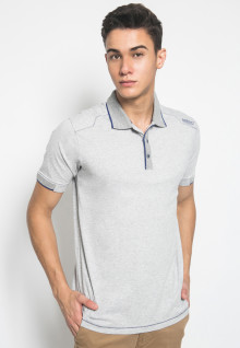 Slim Fit - Kaos Polo Fashion - Stripe Collar - Abu