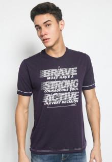 Slim Fit - Kaos Casual Active - Gambar Sablon BRAVE - Ungu