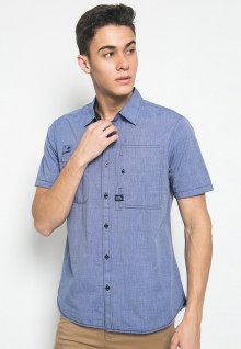 Slim Fit - Kemeja Fahion - Double Pocket - Biru