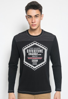 Slim Fit - Kaos Casual Active - Gambar Sablon EFFECTIVE - Hitam