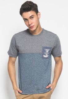 Slim Fit - Kaos Casual Active - Gambar Sablon FOCUS - Biru dan Abu