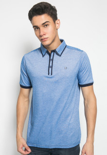 Slim Fit - Kaos Polo Fashion - Motif Titik - Biru