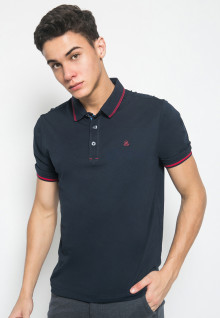 Slim Fit - Kaos Casual Active - Polos - Dark Blue