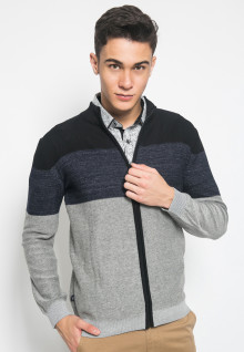 Slim Fit - Sweater Casual - Stripe Biru dan Hitam - Abu