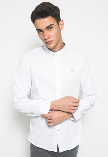 Slim Fit - Kemeja Fashion - Polos - Kerah Shanghai - Putih