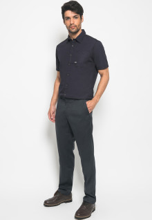 Slim Fit - Kemeja Fashion - Polos - Navy