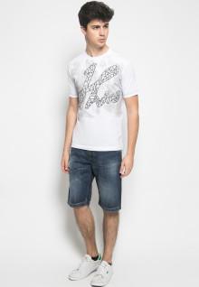 Slim Fit - Kaos Casual Active - Motif Latin - Putih