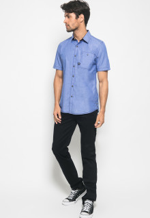 Slim Fit - Kemeja Fashion - Polos - Biru