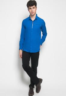 Slim Fit - Kemeja Casual Active - Sablon Stripe - Biru