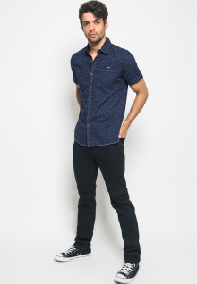 Slim Fit - Kemeja Fashion - Full Motif - Navy