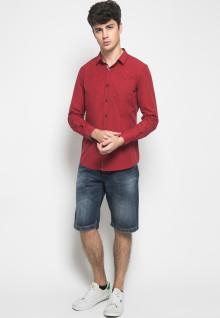 Slim Fit - Kemeja Casual Active - Full Motif Titik - Merah