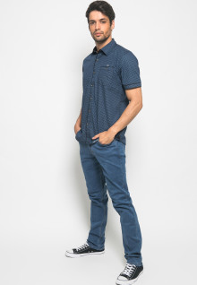 Slim Fit - Kemeja Fashion - Full Motif - Royal Blue