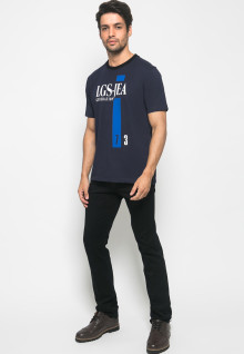 Slim Fit - Kaos Fashion - Sablon Tulisan - Navy