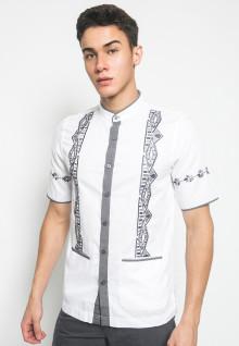 Slim Fit - Kemeja Casual Active - Motif Abu - Kerah Shanghai - Putih