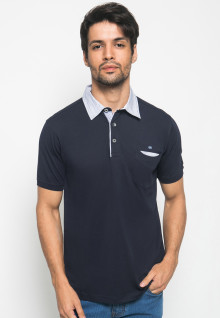 Kaos Polo Fashion Pria aksen warna Soft Blue - Navy