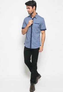 Kemeja Active Fashion Pria Full Motif segitiga Putih - Biru