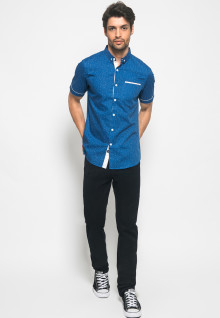 Kemeja Active Fashion Pria titik putih - Biru