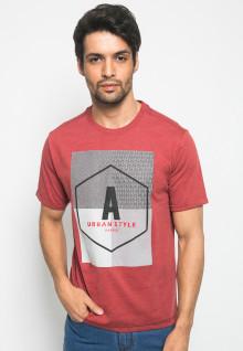Kaos Casual - Fashion - Motif sablon URBAN STYLE - Merah