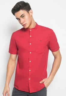 Slim Fit - Kemeja Jeans - Motif Polos - Merah