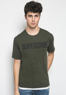 Slim Fit - Kaos Casual Active - Puff Print - Awesome - Hijau Army