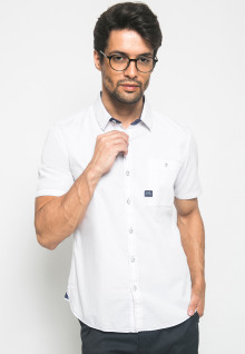 Slim Fit - Kemeja Fashion - Polos - Putih
