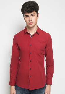 Slim Fit - Kemeja Casual Active - Full Motif Titik - Merah