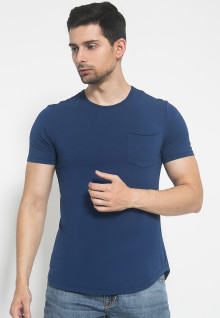 The One - Round Neck Kantong - Biru Tua