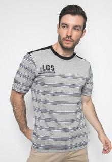 Kaos Active - Warna Grey - Lengan Pendek - Model Garis-Garis