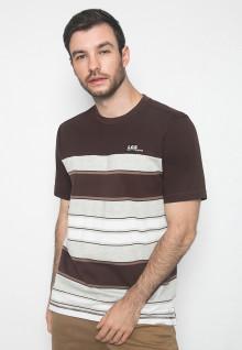 Kaos Casual - Warna Coklat Putih - Lengan Pendek